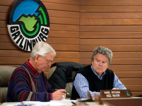 Gatlinburg Mayor Mike Werner, right, and Vice Mayor Mark McCown during the Gatlinburg City Commission meeting on Tuesday, March 14, 2017.