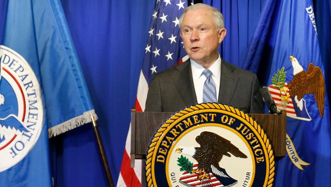 Attorney General Sessions and Secretary John Kelly of the Department of Homeland Security (DHS) (not shown) toured the ports of entry in El Paso Thursday morning and meet with Department of Justice and DHS personnel, before holding a brief press conference to discuss their trip to the El Paso/Juarez, Mexico border.