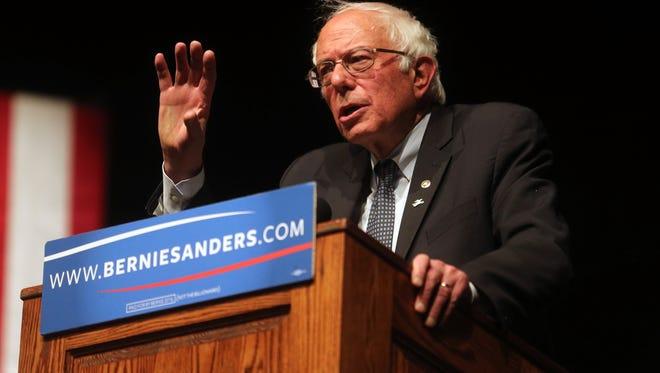 Sen. Bernie Sanders speaks during a campaign rally in Laramie, Wyo., on April 5, 2016.