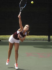 THOMAS METTHE/ABILENE REPORTER-NEWS London's Sara Humpal serves the ball during her victory in the Class 2A girls singles state championship against Mason's Kirsten Allen Tuesday at the Mitchell Tennis Center in College Station. Humpal won the match 6-0, 6-4.