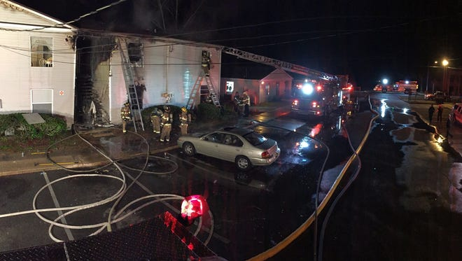 A fire tore through a south Leon County apartment complex this morning displacing 20 residents and sending one person to the hospital.