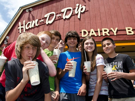 "The after-school crowd from Frost Middle School shows up at Han-D-Dip. Matt Behen, Michael Zuckerman, Rishi ""Kobe"" Chandran, Chris Chahin, Savannah Bevill, Owen Atienza, and Brendan McCoy, know how to relax after a day at school."