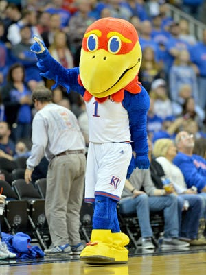 The Kansas Jayhawks mascot entertains the fans during the first half against Georgia.