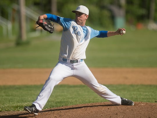 South Burlington's Connor Bradley winds up for a strike