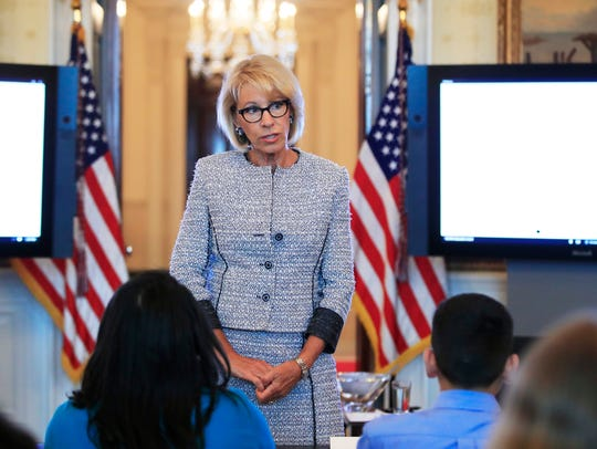 """When it comes to education,"" Education Secretary Betsy DeVos has said, ""no solution -- not even ones we like -- should be dictated by Washington, D.C."""
