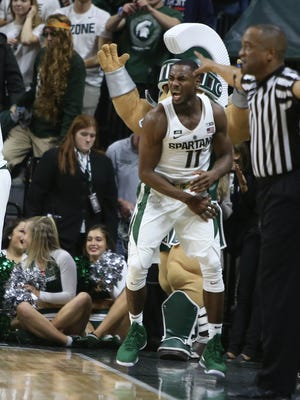 Michigan State guard Lourawls Nairn reacts after the 76-72 overtime win against Rutgers Wednesday, January 10, 2018 at the Breslin Center in East Lansing.