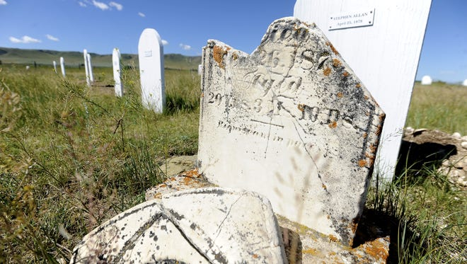 Damaged grave marker at Fort Shaw Military Cemetary.
