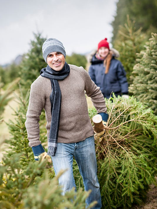 Family with Christmas tree on a farm (Photo: Elena Elisseeva, Getty  Images/iStockphoto) - Where, How To Pick Your Christmas Tree In Kentucky, Indiana