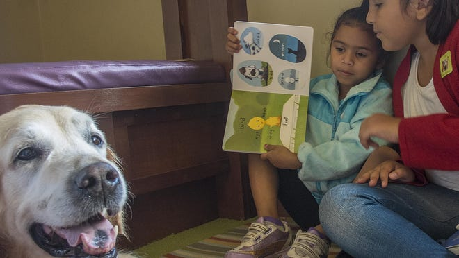 Mina Powell, left, and her older sister Alicia Martinez, 8, try to get Jack, a 10-year-old golden retriever to look at the pages of a book as they read to him Saturday at the Delta Township District Library.