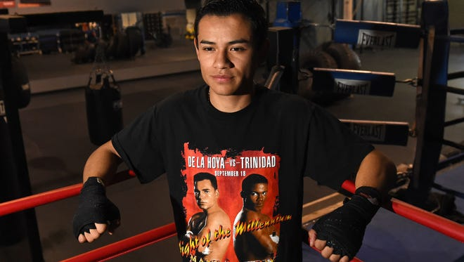 Boxer Ricardo Lucio-Galvan, 20, poses for a photo at Elite Boxing Gym on Wednesday. Galvan will be making his pro boxing debut at the Reno Sparks Convention Center on Friday.