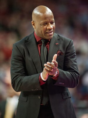Arkansas Razorbacks head coach Mike Anderson reacts to a play during a game against the Missouri Tigers at Bud Walton Arena.