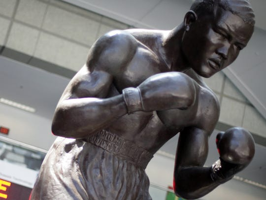 The Joe Louis statue at the entrance to Cobo Center