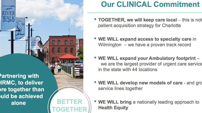Part of Atrium Health's message during its presentation Thursday night.