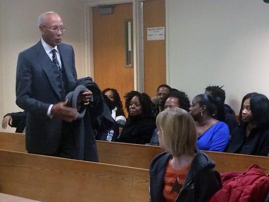 Former Detroit Mayor Dave Bing arrives in court Wednesday, Dec. 16, 2014, to support Jayru Campbell.