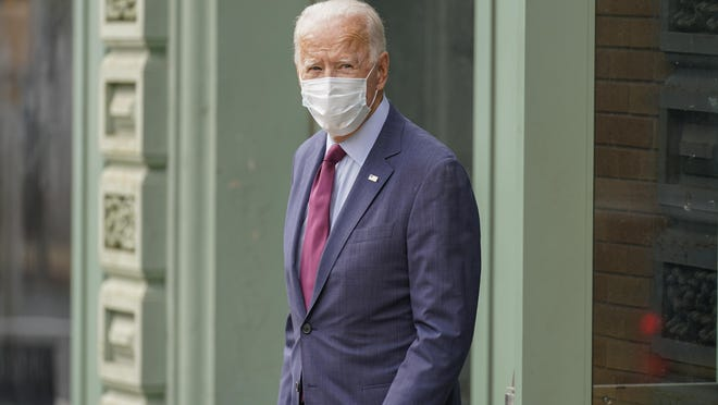 Democratic presidential candidate former Vice President Joe Biden is seen leaving the Queen Theater, after giving a speech on the Supreme Court, Sunday, Sept. 27, 2020, in Wilmington, Del.