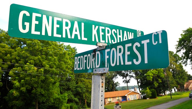 Gen. Kershaw Drive and Bedford Forest Court are in a neighborhood near Rebel Drive and Confederate Circle in Old Hickory, Tenn., east of Nashville