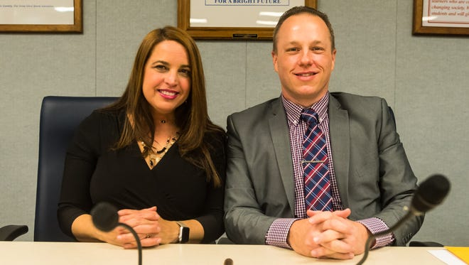 Vineland School Board Vice President Inez Acosta and President Jeffrey Bordley pose for a photo following the 2018 reorganization at the Vineland Public School Board Headquarters on Wednesday, January 3.