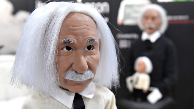 Professor Einstein, an educational Wi-Fi connected robot is on display at the Hanson Robot display during the opening day of Consumer Electronics Show 2017.