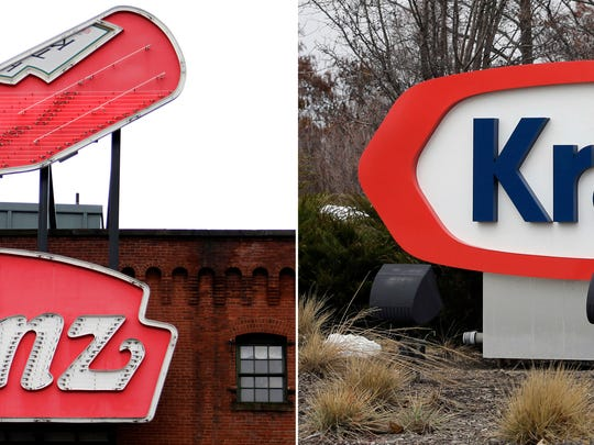 At left, in a March 25, 2015, file photo, a Heinz ketchup sign is shown on the side of the Senator John Heinz History Center in Pittsburgh. At right, also in a March 25, 2015, file photo, the Kraft logo appears outside of their headquarters in Northfield, Ill. (AP Photo/File)
