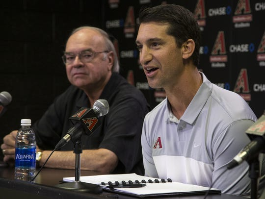 Diamondbacks General Manager Mike Hazen (right) is