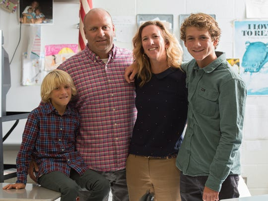 The Forcucci family, from left, Cooper, 9, DJ, Virginia and Finn 13. Virginia Forcucci, a teacher at Sussex Technical High School, was named Delaware's 2018 Teacher of the Year.