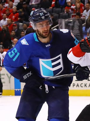 Frans Nielsen of Team Europe plays against Canada in the World Cup of Hockey on Sept. 29, 2016, in Toronto.
