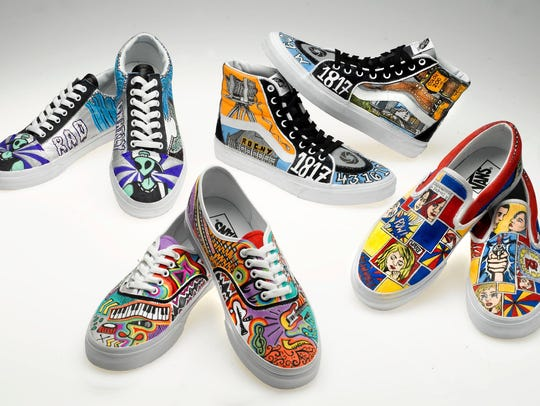 Vans sneakers illustrated by four Mercy students.