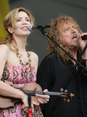 Alison Krauss and Robert Plant perform during the 2008 New Orleans Jazz & Heritage Festival in New Orleans on April 25, 2008.