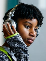 Camper Samara Hardaway, 13, listens to the beat during Camp DJ Memphis at Minglewood Hall Friday afternoon.