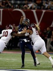 Utah State quarterback Jordan Love (10) in the second