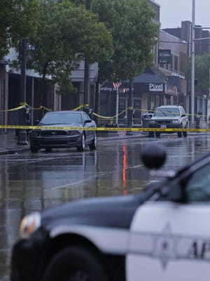 A portion of College Avenue was blocked off following a police shooting at Jack's Apple Pub on May 21.