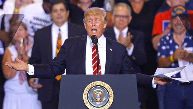President Trump speaks during the Make America Great Again Rally in Phoenix on Aug. 22, 2017.