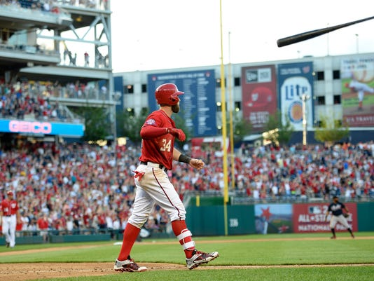 Bryce Harper flips his bat after he hit a two-run walk-off home run against the Atlanta Braves during the ninth inning of a baseball game, Saturday, May 9, 2015, in Washington. The Nationals won 8-6. (AP Photo/Nick Wass)