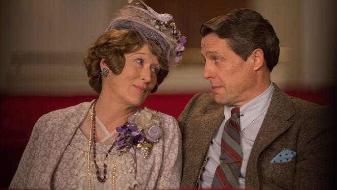 """St. Clair Bayfield (Hugh Grant) supports the dreams of his wife (Meryl Streep) in """"Florence Foster Jenkins."""""""