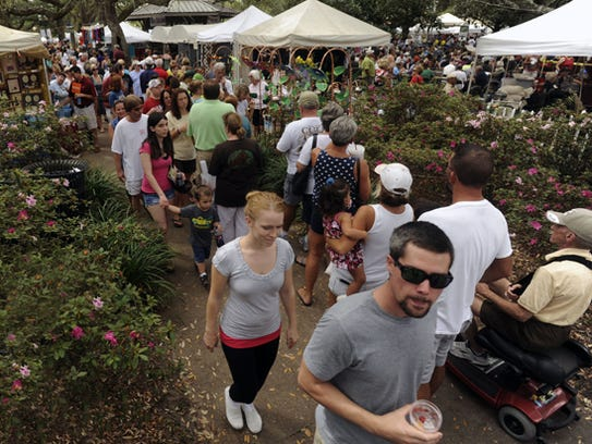 The crowd checks out the 35th Seafood Festival on Saturday