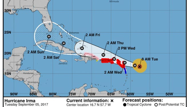 The projected path of Hurricane Irma as of 8 a.m. on Tuesday, Sept, 5, 2017.