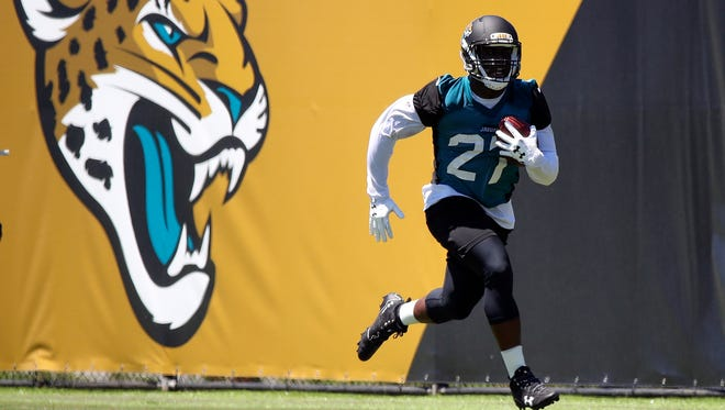 Running back Leonard Fournette is at the top of the Jaguars' depth chart, but could see competition from T.J. Yeldon on passing downs and CHris Ivory in short-yardage situations.