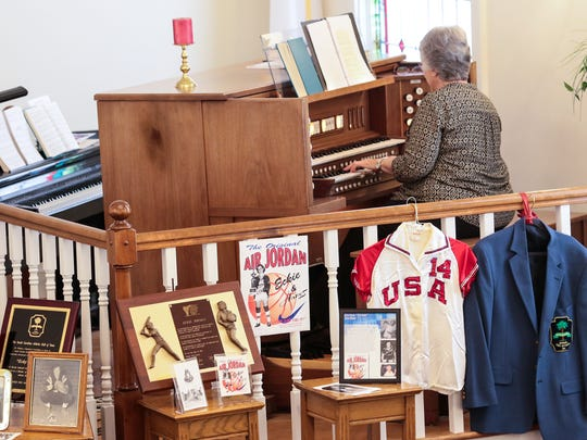 "Gail Strickland plays organ Tuesday at the funeral for Evelyn ""Eckie"" Juanita Jordan at First Baptist Church in Williamston."
