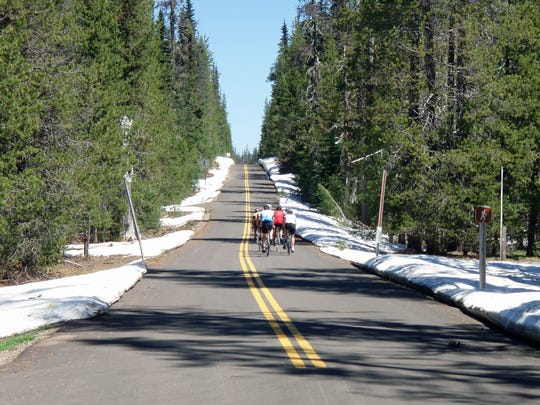 McKenzie Pass Scenic Bikeway follows Highway 242. It's a popular spot during spring for bike riders because ODOT plows it but keeps it closed to cars until June 16.