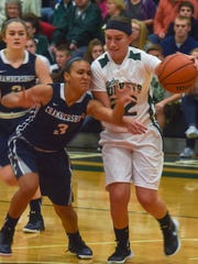 Chambersburg's Monica Henderson (3) tries to steal the ball from Abby Mackling (22) of James Buchanan during the Franklin County Tip-Off on Friday, Dec. 04, 2015.