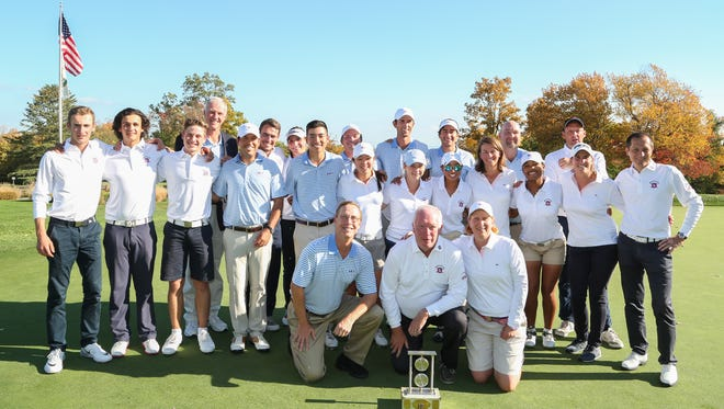 Teams from the Ligue de Paris and MGA/WMGA gather after the French-American Challenge Matches on Thursday at The Stanwich Club.