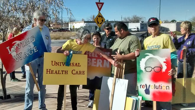 Supports of Bernie Sanders prepare for the annual Martin Luther King Jr. march, held in Las Cruces in January.