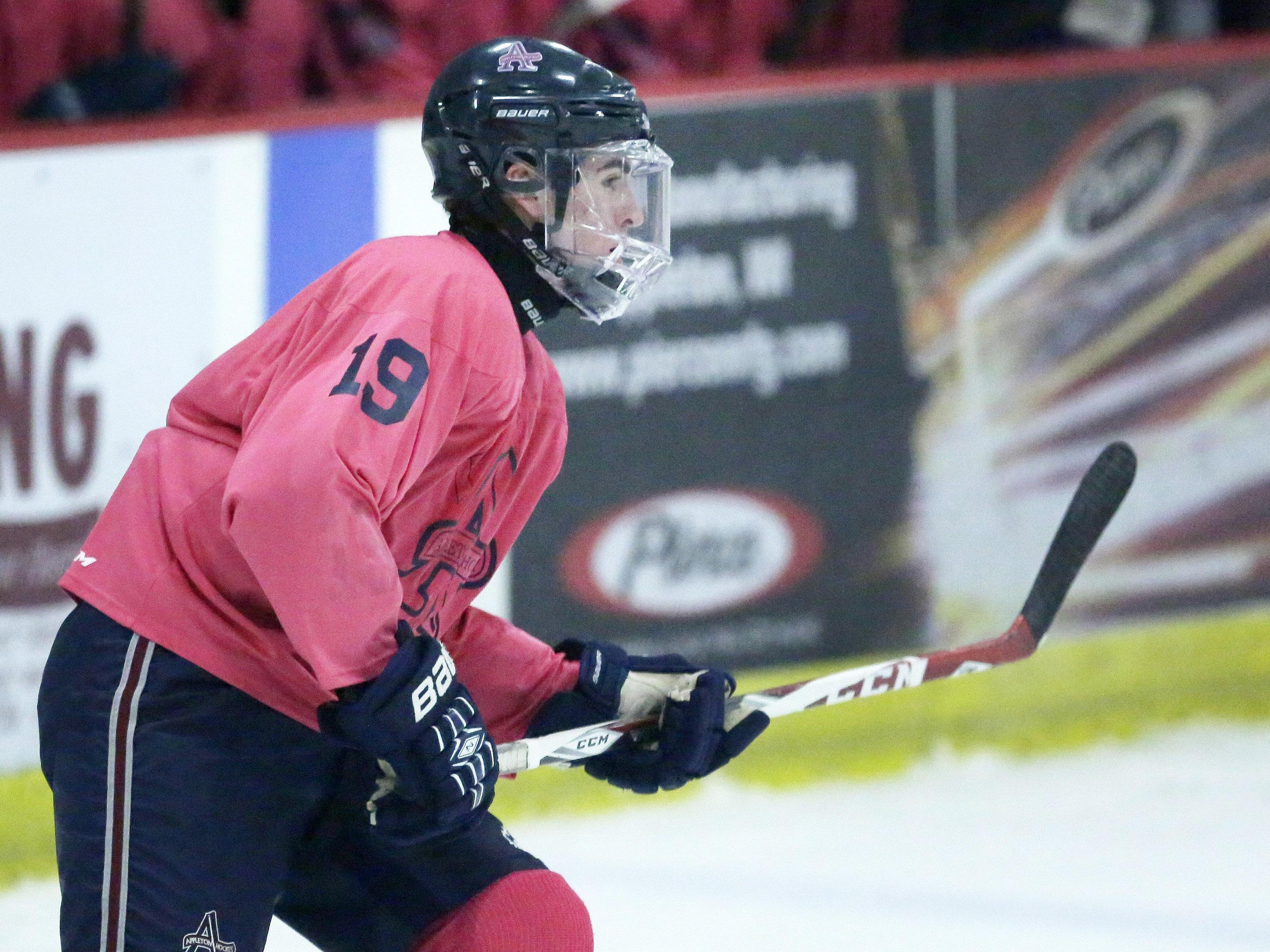 Michael Alfaro of Appleton United plays against the Fox Cities Stars in a Badgerland Conference boys' hockey game Tuesday at the Appleton Family Ice Center.