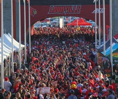 Cards fans packed the pregame Card March at Papa John's Cardinal Stadium.