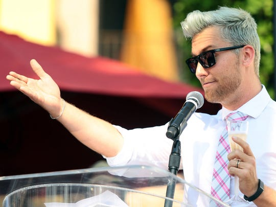 "Lance Bass speaks during a ceremony honoring ""Real Housewives of Beverly Hills"" star Lisa Vanderpump with a new star on the Palm Springs Walk of Stars on Wednesday morning, July 30, 2014 in Palm Springs, Calif."
