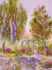 """""""Afternoon in the Garden"""" is a watercolor by Ed Fenendael of Baileys Harbor that depicts a scene in the gardens of pioneering Impressionist painter Claude Monet, who often famously painted the gardens himself, in Giverny, France. Fenendael gives a talk on his trips to, and work in, Giverny on April 13 at the Miller Art Museum in Sturgeon Bay."""