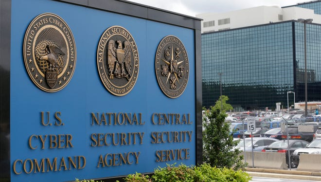 This June 6, 2013, photo shows the sign outside the National Security Agency  campus at Fort Meade, Md.