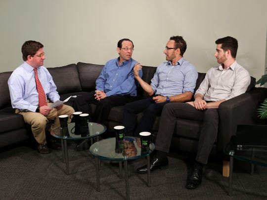 Lohud.com and NorthJersey.com staff talk about the expansion of Rockland's eruv into New Jersey during a Aug. 20 Facebook Live discussion. From left: Moderator Ed Forbes; lohud reporter Steve Lieberman; NorthJersey's Garden State of Mind columnist Chris Maag; and NorthJersey reporter Tom Nobile.