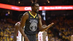 Kevin Durant reacts to a play during the Golden State