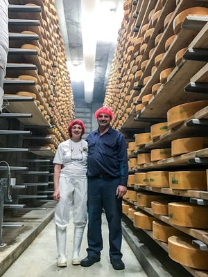 Betty and Gary Burley, owners of East Hill Creamery in Perry, in a cheese cave at East Hill Creamery